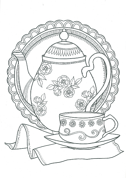 adult colouring book - tea time  cbadtt