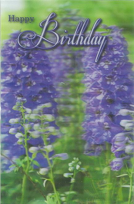 3D Card Happy Birthday Lavender
