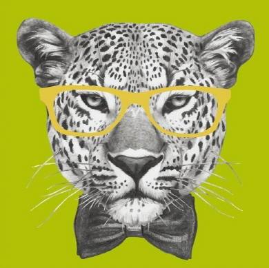 Square Blank Card Leopard glasses