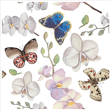Square Blank Card Flowers & Butterflies