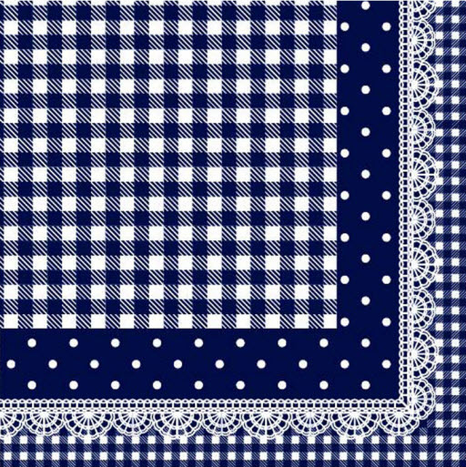 Serviette Grid and dot laciness design-blue