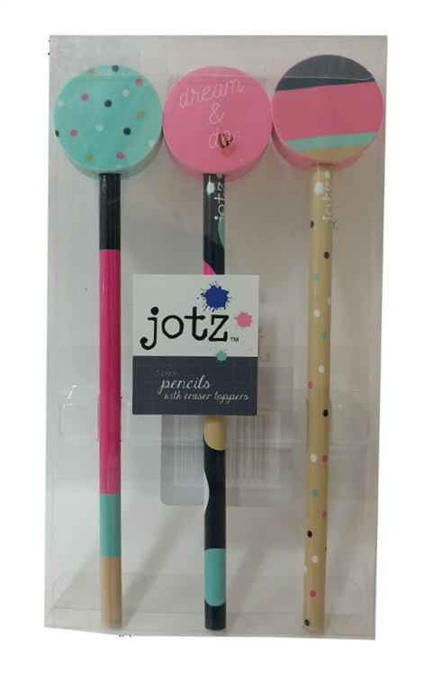 Jotz 3pk Pencils with eraser topper