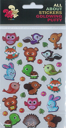 Sticker Puffy Forest Animals