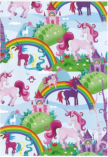 Folded Wrapping Paper Rainbows and Unicorns